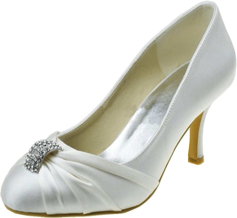 Minishion Girls Womens Ruched Slip-on Satin Bridal Wedding Dress shoes