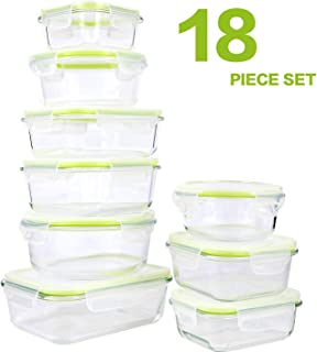 GLASSWELL 18 Piece Glass Food Storage Containers with Locking Lids - Airtight & Leak Proof, BPA Free - Dishwasher, Oven, Freezer, Microwave Safe Glass Meal Prep Container
