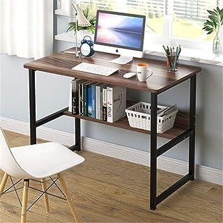 طاولة مكتب الكمبيوتر، سطح خشبي بإطار معدني ثابت، محطة عمل خشبية دراسة أثاث مكتب المنزل، B،100 سم
