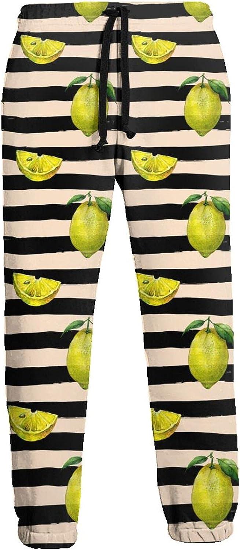 Mens Jogger Sweatpants Green Lemon Black Stripes Lightweight Workout Athletic Joggers Pants Trousers
