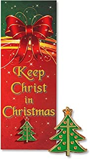 Keep Christ in Christmas Tree with Latin Cross Lapel Pin on Bookmark