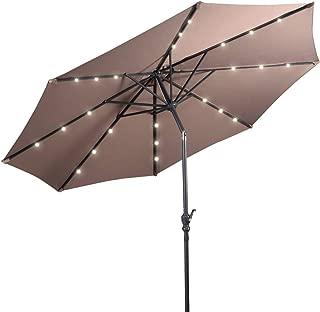 Giantex 10ft Solar Patio Umbrella Sunbrella with Lights, 8 Ribs Market Steel Tilt w/Crank for Garden, Deck, Backyard, Pool Indoor Outdoor Use (Tan)
