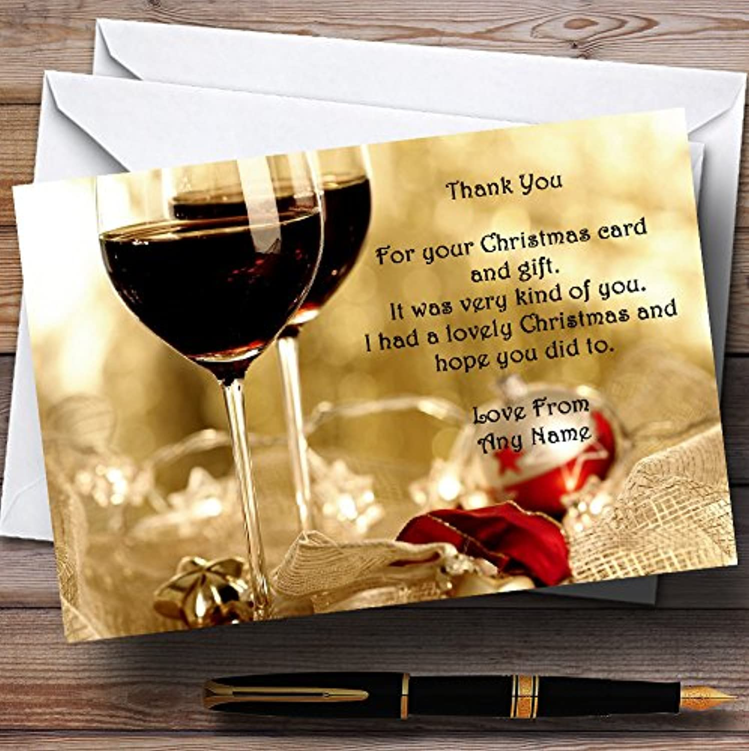 Wine Personalised Christmas   New Year   Holiday Party Thank You Cards