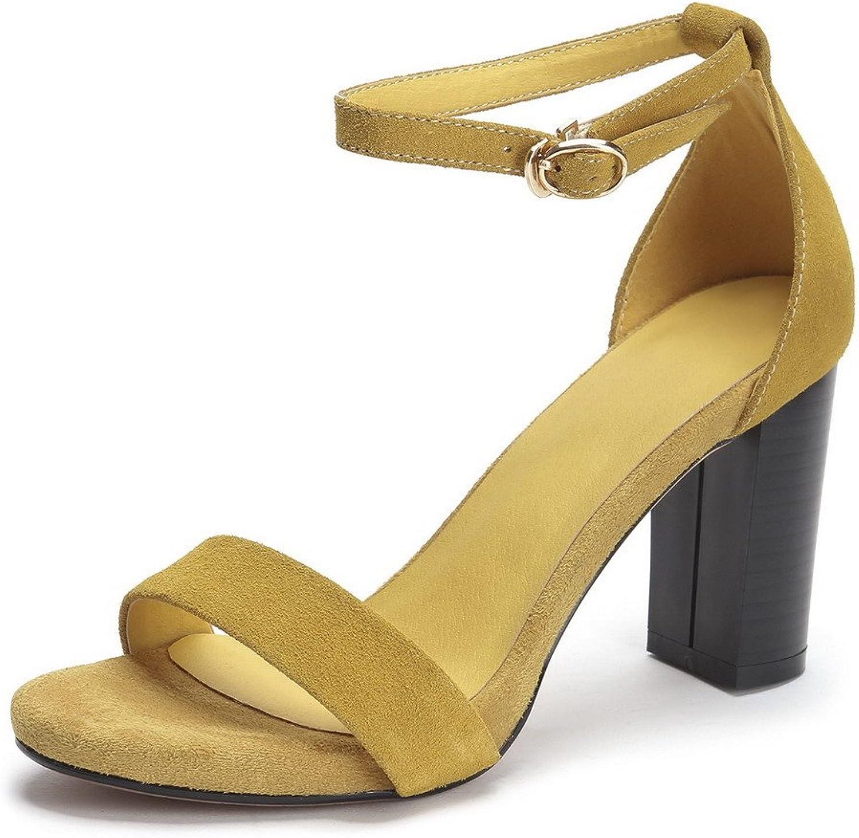 WeenFashion Women's Buckle High-heels Cashmere Solid Open Toe Sandals