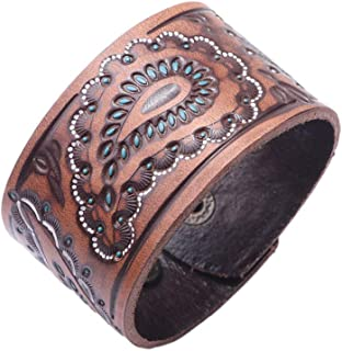 Fusamk Punk Rock Print Pattern Wristband Wide Leather Cuff Bracelet,7.0-8.0inches