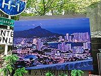 【201336】ハワイを感じる空間作りにハワイアン・キャンバスアート(タンタラスの丘 LEDライト付き)/アメリカ雑貨/ポスター/旅行/絵画