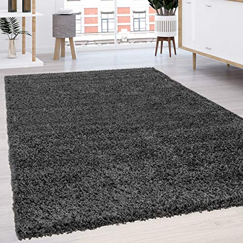 Paco Home Hochflor Shaggy Langflor Teppich versch. Farben u. Grössen TOP Preis NEU*OVP, Grösse:70x140 cm, Farbe:Anthrazit