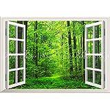 絵画風 壁紙ポスター (はがせるシール式) -窓の景色- 森林 森林浴 緑 目の保養 気分転換 癒し 【窓仕様/トリックアート】 キャラクロ SNR-001MA2 (A2版 594mm×420mm) 建築用壁紙+耐候性塗料