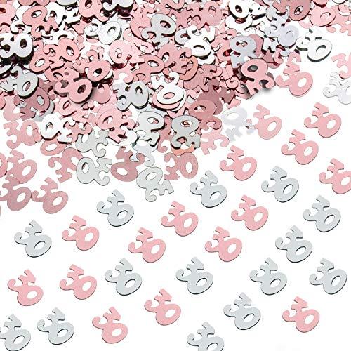 Nummer 30 Glitter Konfetti für 30. Geburtstag Jubiläum Party Supplies Tischdekoration, 1,76 Unze(Roségold und Silber)