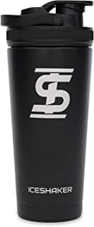 Ice Shaker Stainless Steel Insulated Water Bottle Protein Mixing Cup (As seen on Shark Tank) (Black - Black Bands, 26oz)