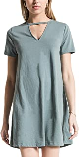 Z Supply ZD182399 The Cut Out Front Tee Dress in Sea Green