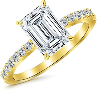 1.95 Ctw 14K White Gold Classic Side Stone Emerald Cut GIA Certified Diamond Engagement Ring (1.7 Ct H Color VS1 Clarity Center Stone)