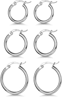 3 Pairs 925 Sterling Silver Hoop Earrings   Small White Gold Plated Hoop Earring
