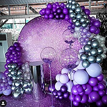 Purple and Silver Party Decoration-Balloon Arch Garland Kit-Macaron Purple Balloon Metallic Silver Balloon 135Pcs for Birthday,Gender Reveal,Baby Shower,Wedding,Engagement,Christmas and New Year Party Decoration.