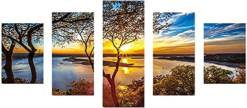5D DIY Full Drill Diamond Painting 5-pictures Combination Craft Cross Stitch Kits Set Embroidery Home Decor Gift,Sunset,37.4 X 17.72inch