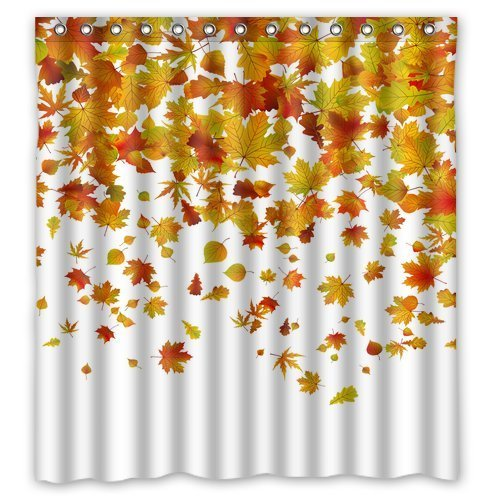 FMSHPON Autumn Falling Maple Leaves Polyester Fabric...
