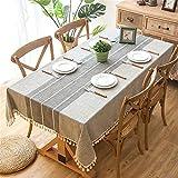 SWECOMZE Gartentischdecke mit Quaste Abwaschbare Tischdecke für Garten
