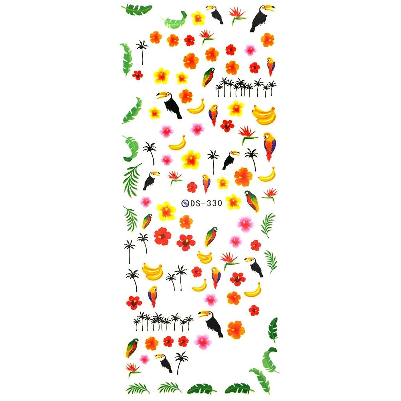 夕方子孫長さサマートロピカルネイルシール【DS-330】ウォーターネイルシール 南国風 トロピカル ハイビスカス ヤシの木