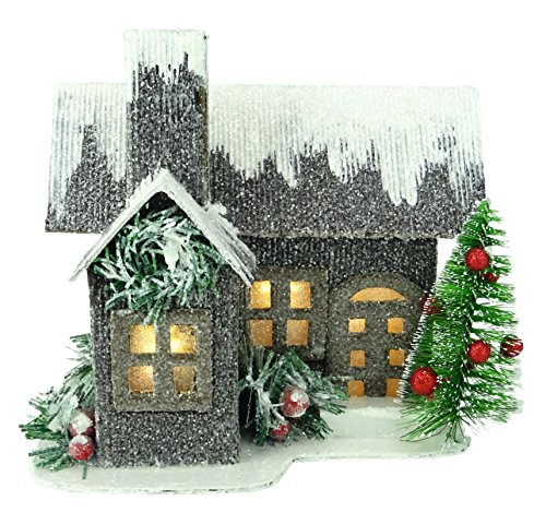 Christmas Concepts 19cm (7') LED Light Up Corrugated Cardboard House - Christmas Decorations - Traditional Christmas Ornaments