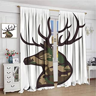 Antler Decor Shading Insulated Curtain Stag Deer Portrait with Camouflage Pattern Hunting Decor Hobby Mammal Soundproof Shade W108 x L72 Inch Brown Cocoa Green