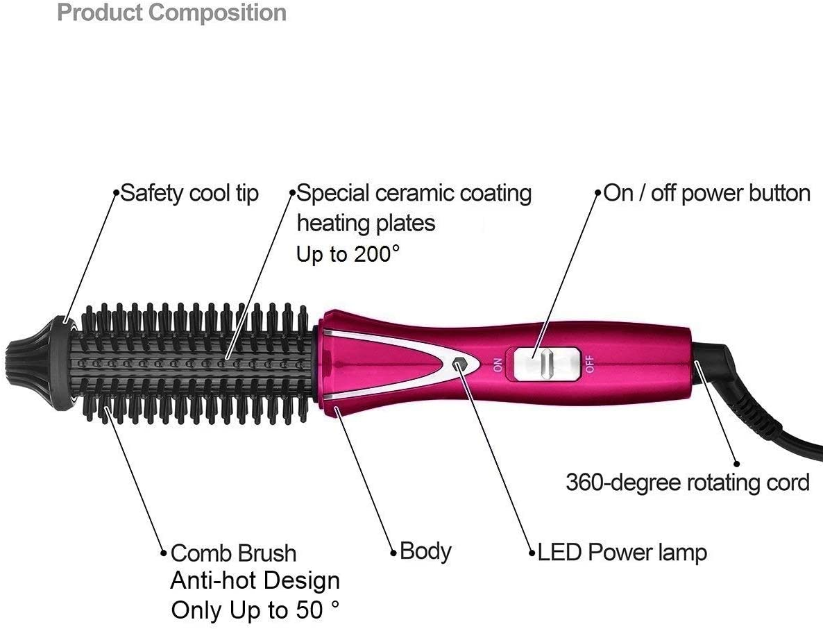 Travel Hair Curling Iron Brush Ceramic Tourmaline Ionic Hot Brush Dual Voltage, 1 inch Anti-scald Heated Curling Wands Round Hair Styler Curler Brush Electric (Black) Red gOLSd
