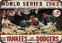 1963ワールドシリーズ野球ドジャースヤンキース再生金属錫サイン8×12