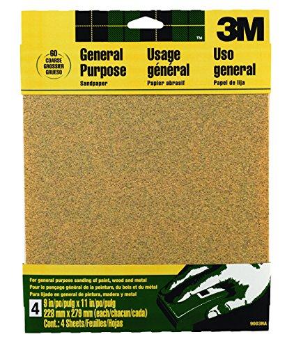 3M 9003NA Aluminum Oxide Sandpaper, Coarse, 9-Inch by 11-Inch