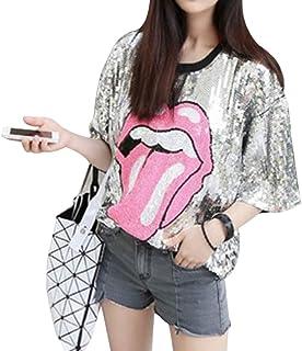 Liliam Women Fashion Sequin Paillette Hip Hop Oversized Baggy Loose Fit Tops Blouse T-Shirt Tee