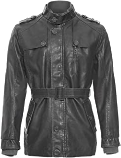 wuliLINL Men's Faux Leather Jackets,Casual Pure-Color Outdoors Autumn Winter Faux Leather Coat Fashion Outwear