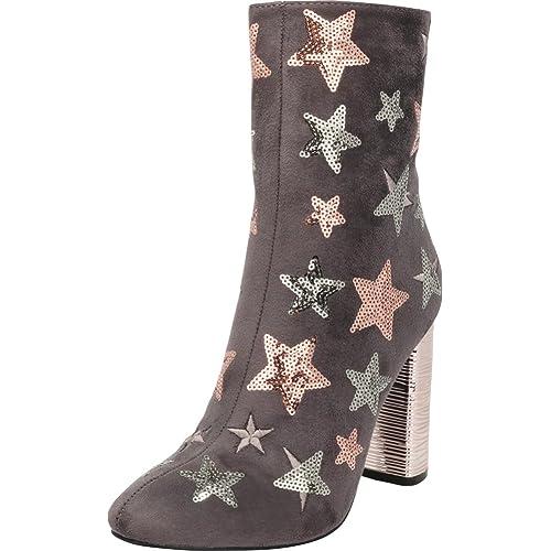008503337fc0 Cambridge Select Women s Closed Almond Toe Glitter Sequin Star Chunky  Wrapped Block Heel Mid-Calf