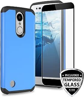 TJS Case for LG Aristo 2/Aristo 2 Plus/Aristo 3/Aristo 3 Plus/Tribute Dynasty/Tribute Empire/Fortune 2/Rebel 3 LTE [Full Coverage Tempered Glass Screen Protector] Hybrid Armor Phone Cover (Blue)
