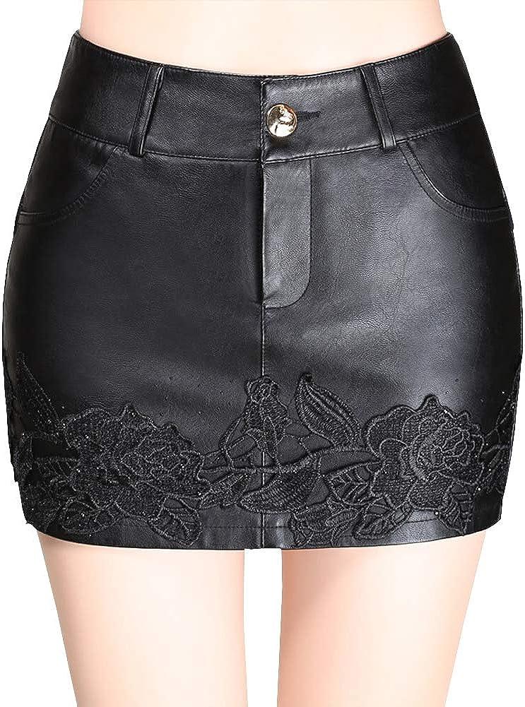 DISSA FS7163 Women Pu Leather Plus Size Mini A-Line Club Skirt