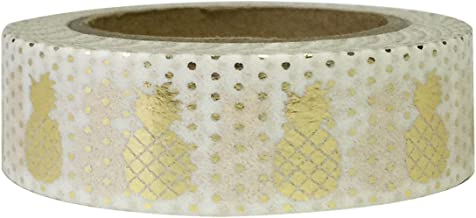 Allydrew Decorative Washi Masking Tape, Tropical Gold Foil Pineapple