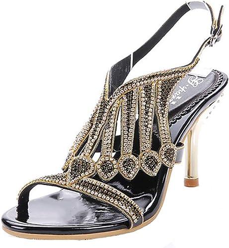 Unbekannt Sandales Mode D'été Aux Femme Gros Strass Cristal Cristal Haut Talon Plage Rond Sandale à Bout Chaussures,noir,41  pratique