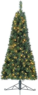 Home Heritage 5 Foot Tall Half Pine Prelit Christmas Tree with Warm White LED Lights and Folding Stand