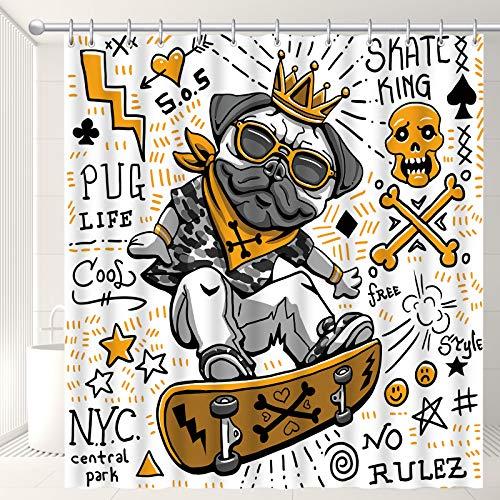 CHENLEI Pug Sliding Skateboard Shower Curtain Set with 12 Hooks,Creative Graffiti Style Shower Curtains for Bathroom,Machine Washable Printed Polyester Fabric Bathroom Shower Curtains,72 x 72 Inches
