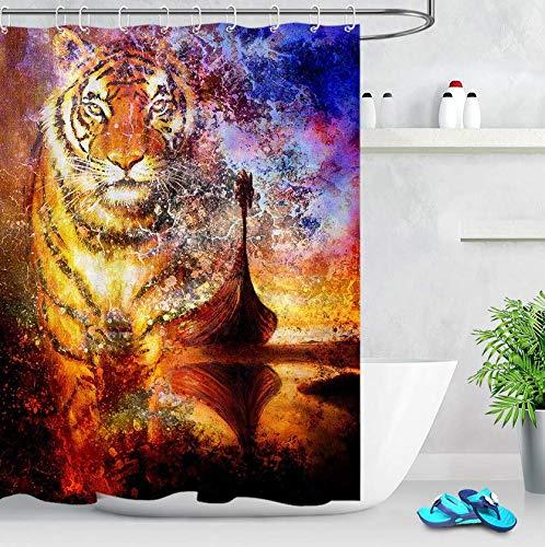 RTYRT 3D Bath Curtain For Bathroom tiger 3d bathroom curtain Cloth Fabric Bathroom Decor Set with Hooks(180 * 200cm)