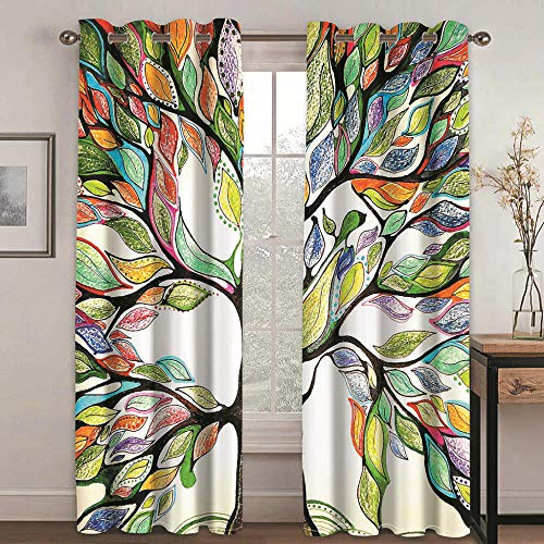 QHDIK Printed Kids Curtains 3D Colored tree Blackout for Children Bedroom Eyelet Thermal Insulated Room Darkening Curtains for Living Room Nursery Bedroom 2x W140 x L245 cm
