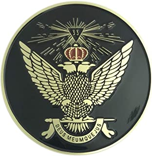 Fratline Scottish Rite 33rd Degree Wings Up Auto Emblem in Black