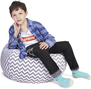 Stuffed Animal Storage Bean Bag Chair Cover for Kids and Adults, Storage Bean Bag with Zipper for Organizing Kids Stuffed ...