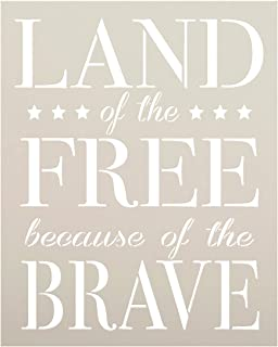 Land of The Free Because of The Brave Stencil by StudioR12 | Reusable Mylar Template | Use to Paint Wood Signs - Wall Art - Pallets - DIY Patriotic Home Decor - Select Size (14