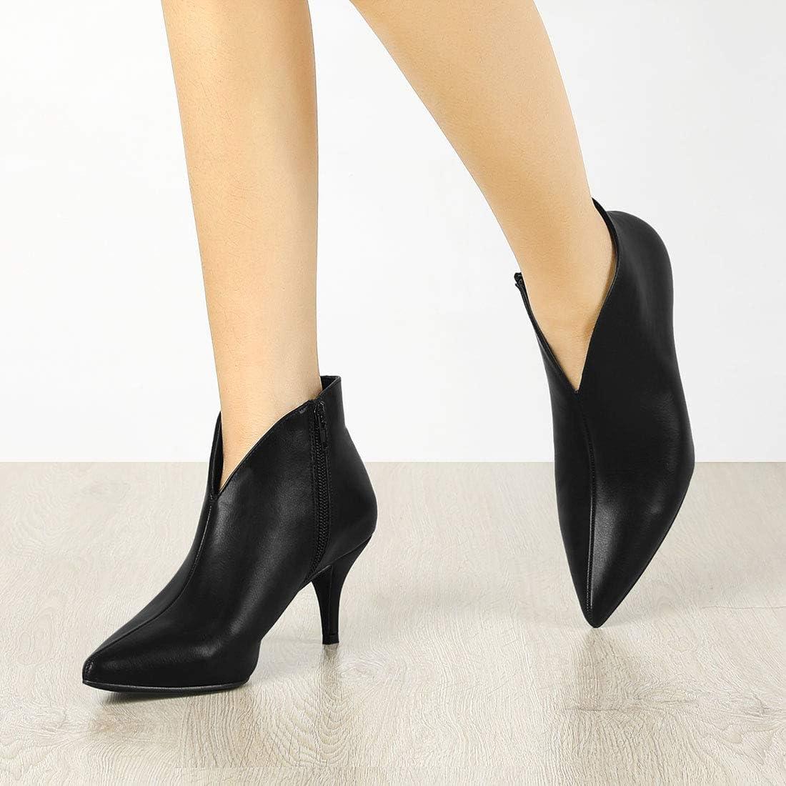 Allegra K Women's Cutout Pointy Toe Stiletto Heels Boots Ankle Booties