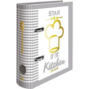 HERMA Classeur à recette A5 Star of the Kitchen, dos de 7 cm, en carton robuste, imprimé entièrement à l'extérieur et finition pelliculée dorée