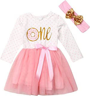 Baby Girl 1st Birthday Outfit Tutu Dress Floral Long Sleeve Lace Skirt + Headband Clothes