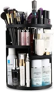 Jerrybox Makeup Organizer, 360 Degree Rotating Vanity Organizer and Cosmetic Storage Display Box, Large Capacity Make up Caddy Shelf Cosmetics Organizer Box with 7 Layers, Black