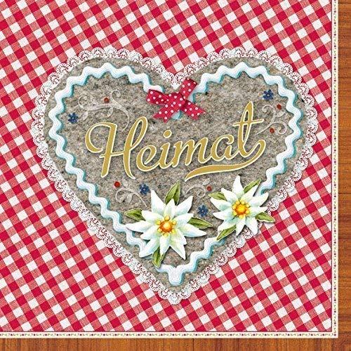 Ambiente 20 st. servetten papieren servetten 3-laags thuis hart rood wit geruit 33 x 33 cm