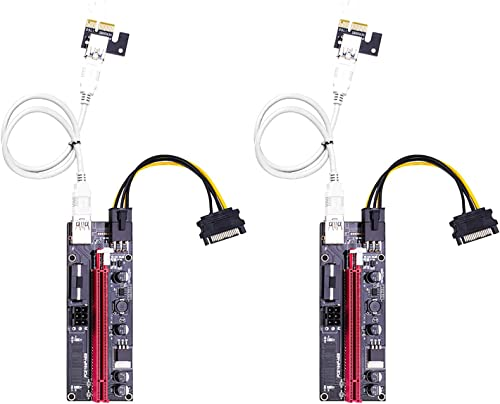 high quality PCIE 1X to 16X Graphics Extension for GPU Mining Powered Riser 2021 Adapter Card, 24In USB 3.0 Cable, 4 Solid Capacitors, 2X 6PIN and Molex online 3 Power Options (VER 009S, 2 Pack) online