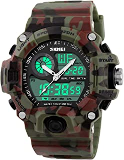 Mens Analog Digital Dual Display Sports Watches Military Multifunctional 50M Waterproof LED Watch with Alarm Stopwatch Bac...