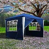 Clanmacy Pavillon 3x3m Wasserdicht ochzeit Festzelt UV-Schutz Stabiles hochwertiges Gartenpavillon mit 4 Seitenteile für Party Festival Messestände