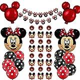 Decoraciones de Cumpleaños de Mickey Mouse, BKJJ Minnie Globos 1er Cumpleaños Bebe Azul Globos Decoraciones de Fiesta Temática de Mickey Globos de Latex